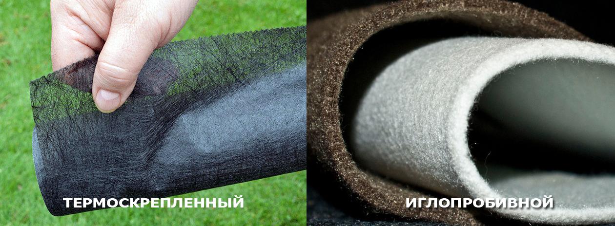термоскрепленный и иглопробивной геотекстиль